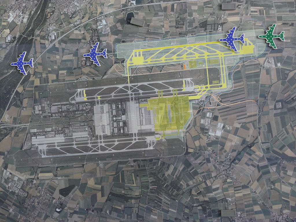 Munich Airport expansion plan showing T2 satellite and thi Flickr