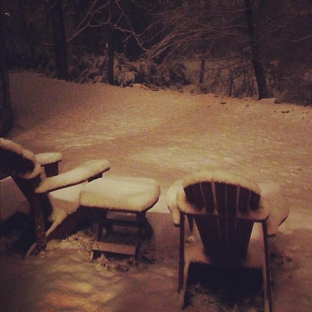 Snowy backyard at night | WalkingGeek | Flickr