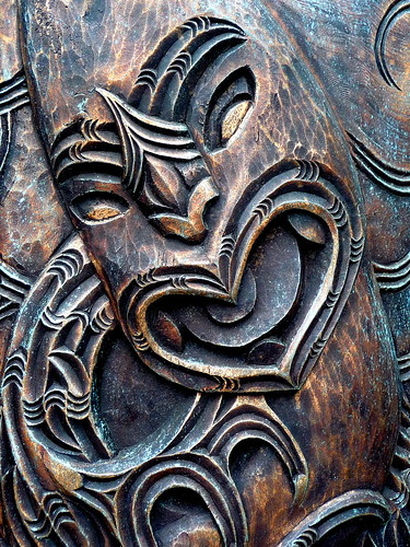 Day maori carving on a post by vector