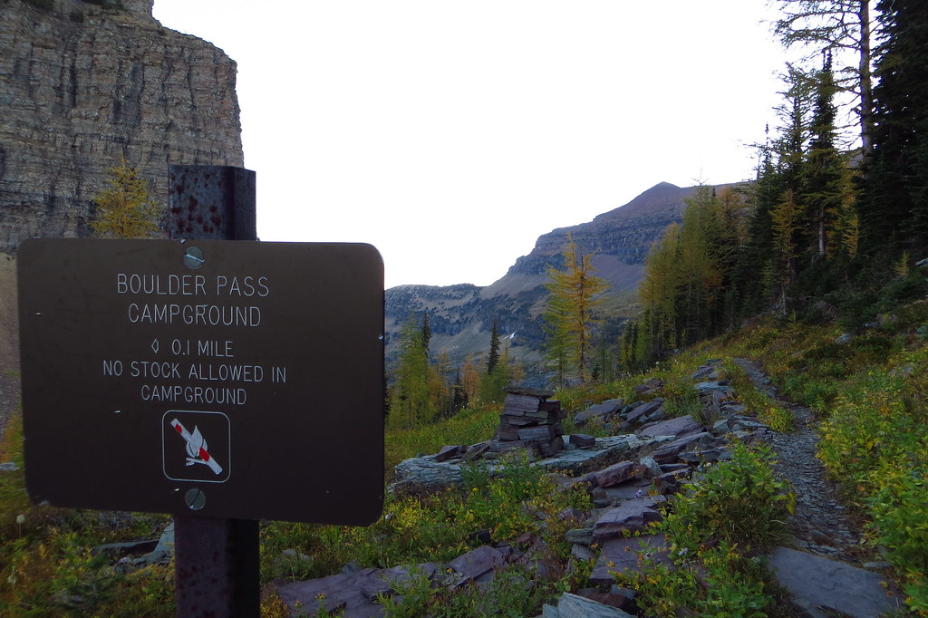 Boulder Pass Campground Sign Boulder Pass Trail Glacier