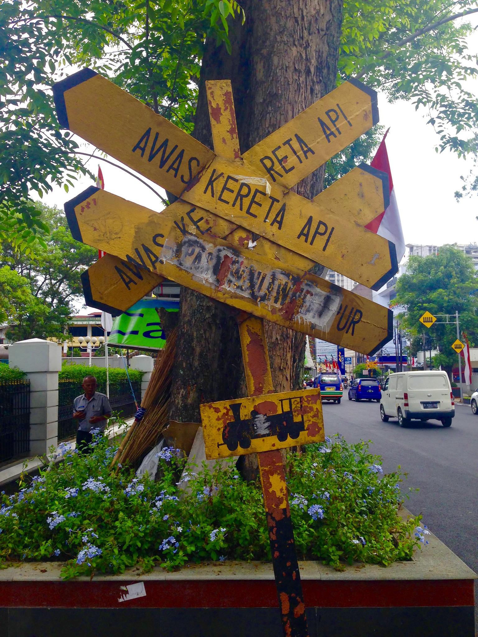 Sign for train station, Bandung