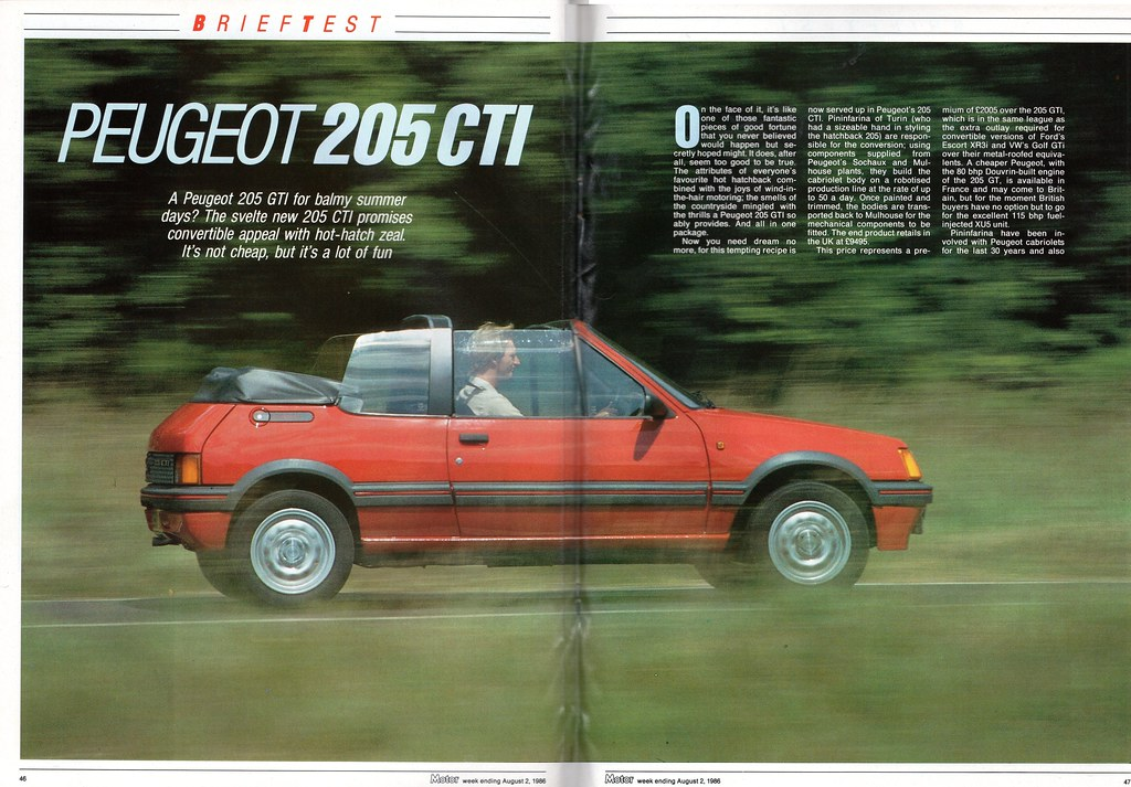 peugeot 205 cti cabriolet road test 1986 flickr. Black Bedroom Furniture Sets. Home Design Ideas