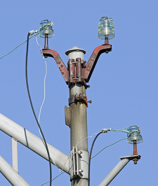 Street Light Post With Glass Insulators