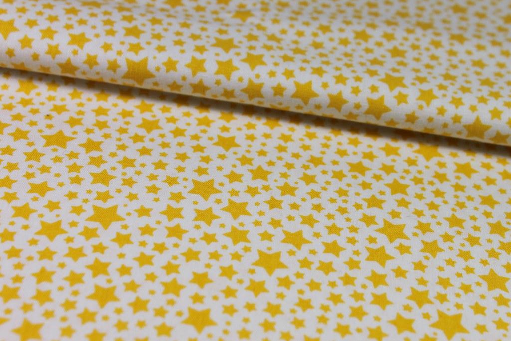 """Baumwollstoff """"Sterne"""", orange-weiß"""