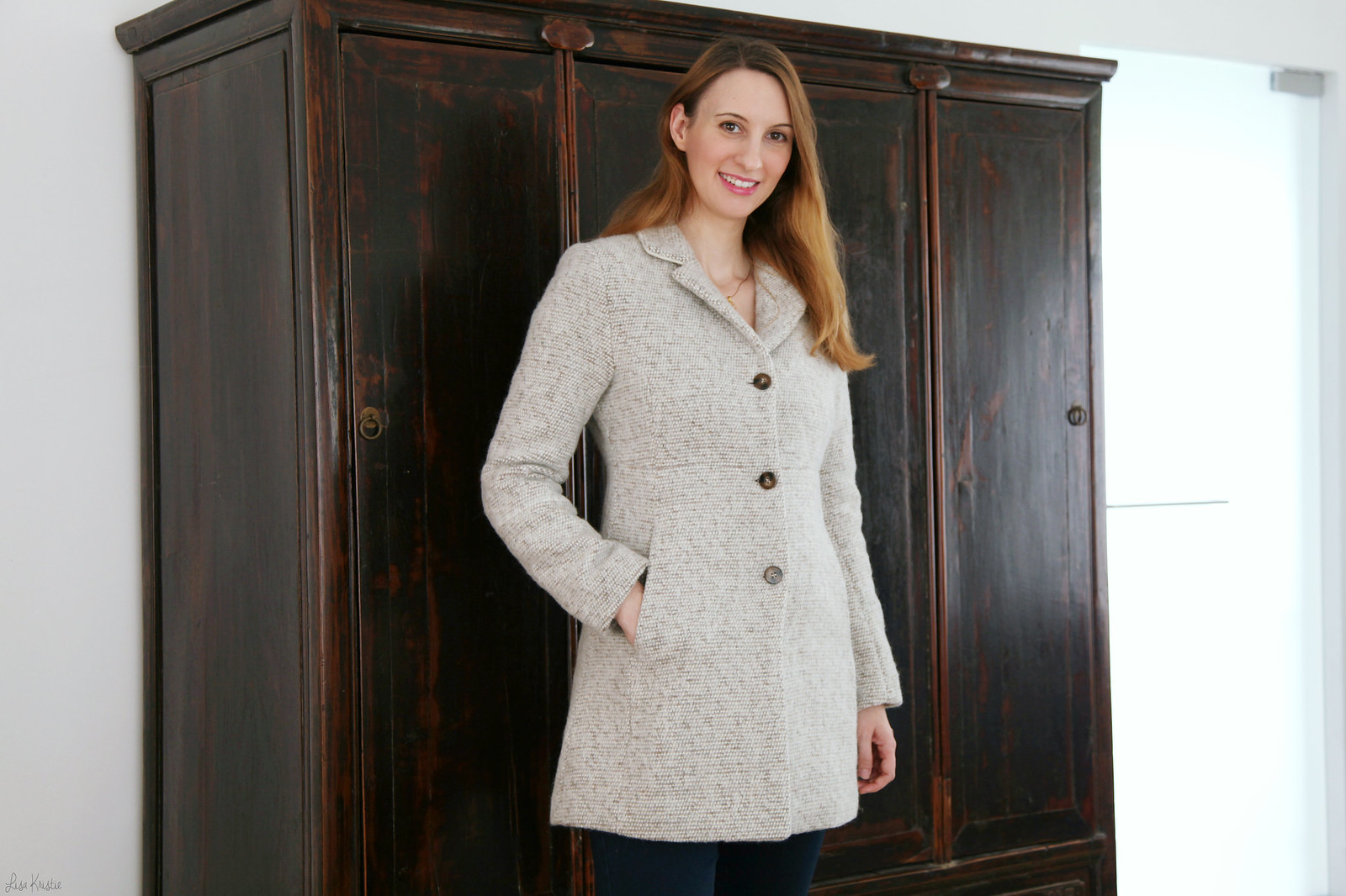 forever21 tweed collared coat in oatmeal color with 3 three brown buttons product ID 2000056466