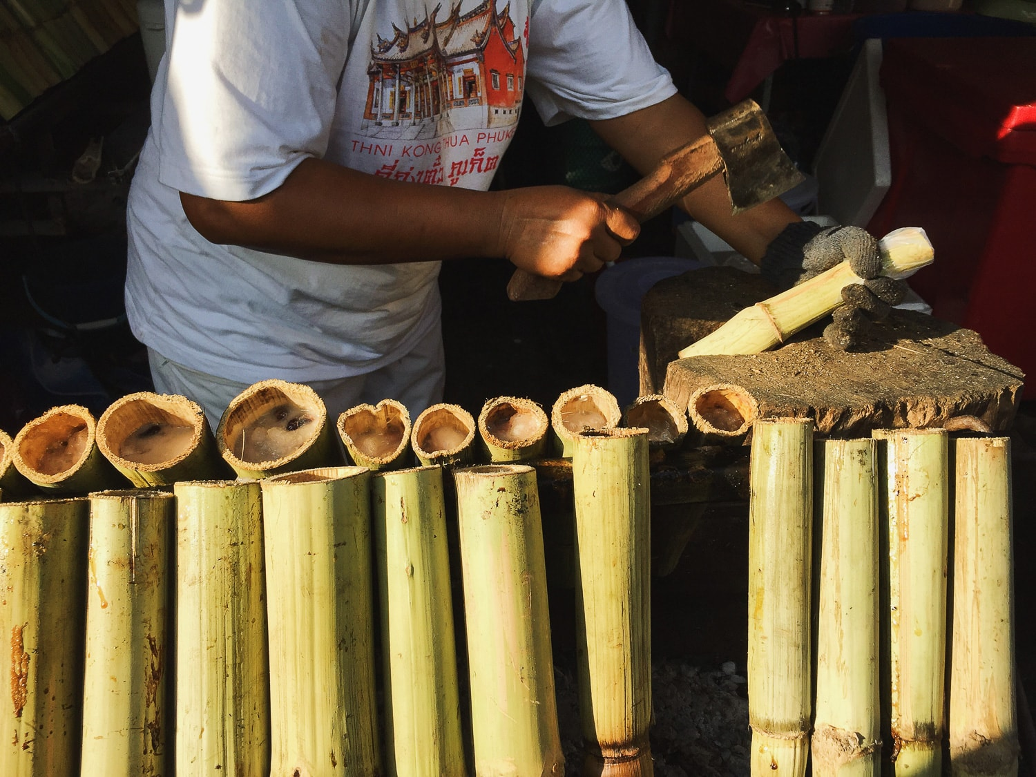 vegan Khao Lam, bamboo poles with sticky rice from Phuket Vegetarian Festival 2016