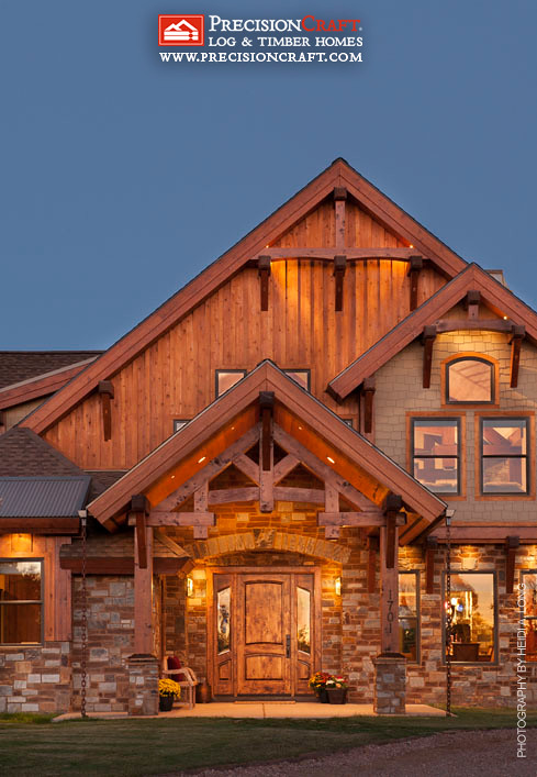 Front Entry To This Custom Timber Frame Home Precisoincr