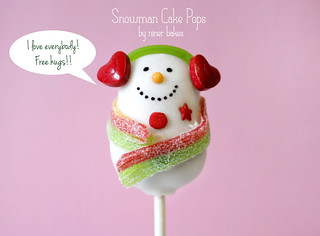 A Snowman Cake Pop who loves the whole world | by niner bakes