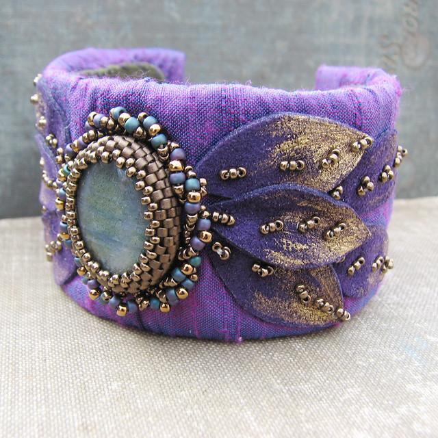 Labradorite cuff bracelet with purple dupioni silk gold