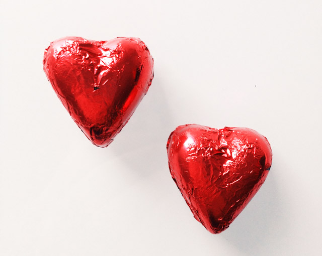 red heart shaped chocolates