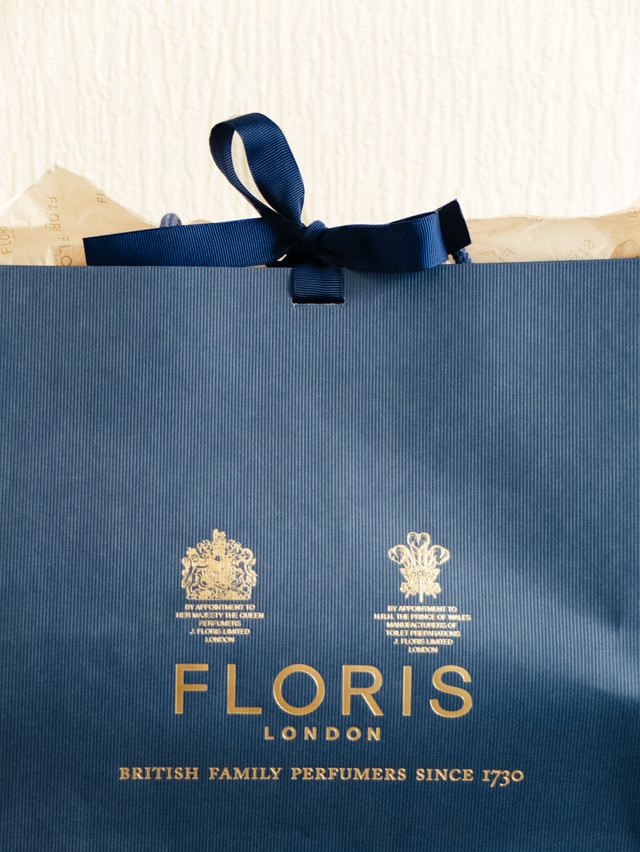 blue floris bag with custom fragrance