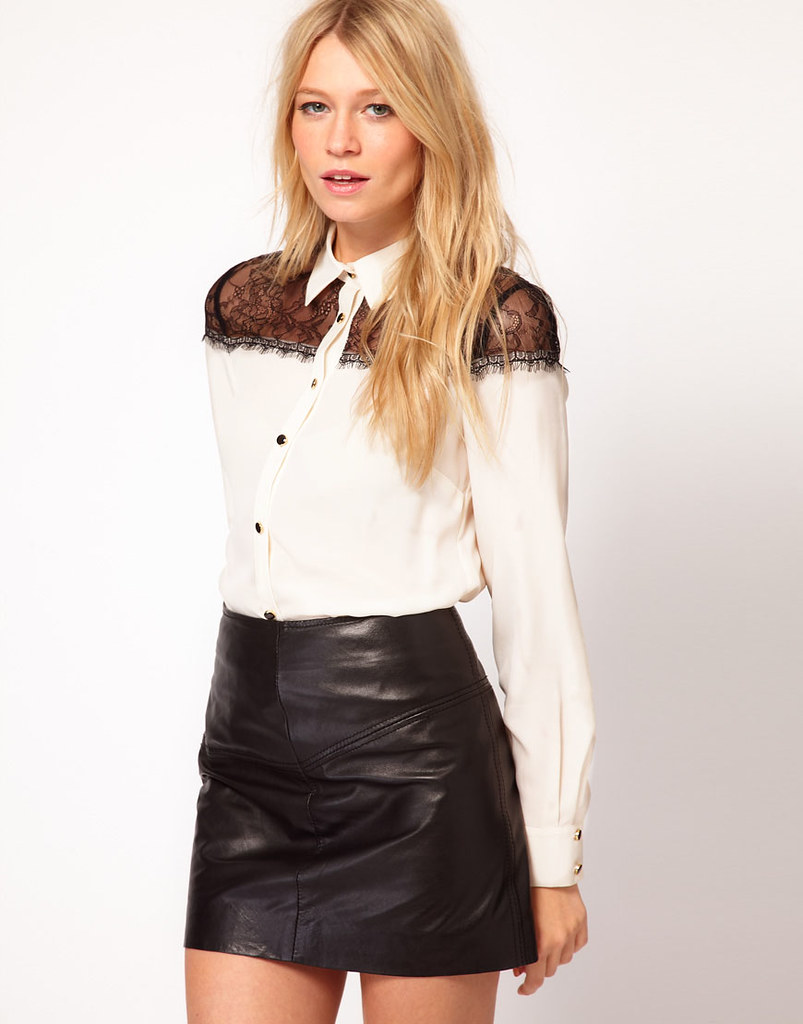 White button up blouse & leather skirt | ejt1977 | Flickr