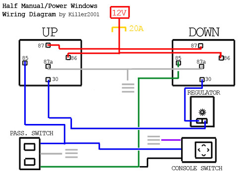 half manual power window wiring diagram by killer2001 j, wire diagram, wiring diagram power window