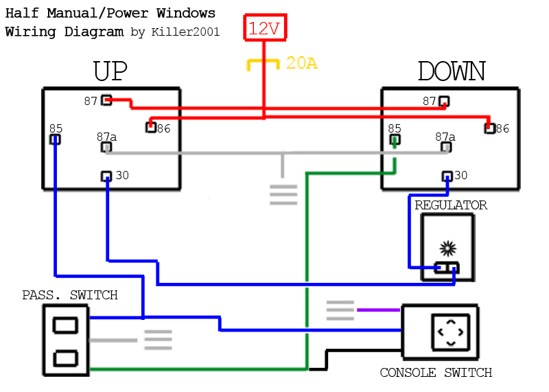 half manual power window wiring diagram by killer2001 j sugiyama rh flickr com wiring diagram power window avanza wiring diagram for power windows 2 door