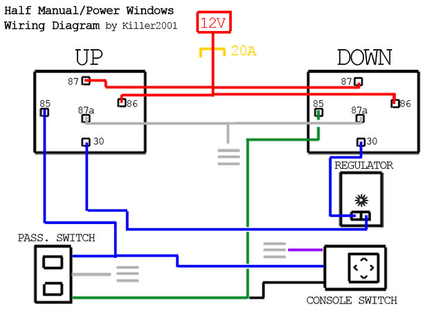 Half Manual  Power Window Wiring Diagram