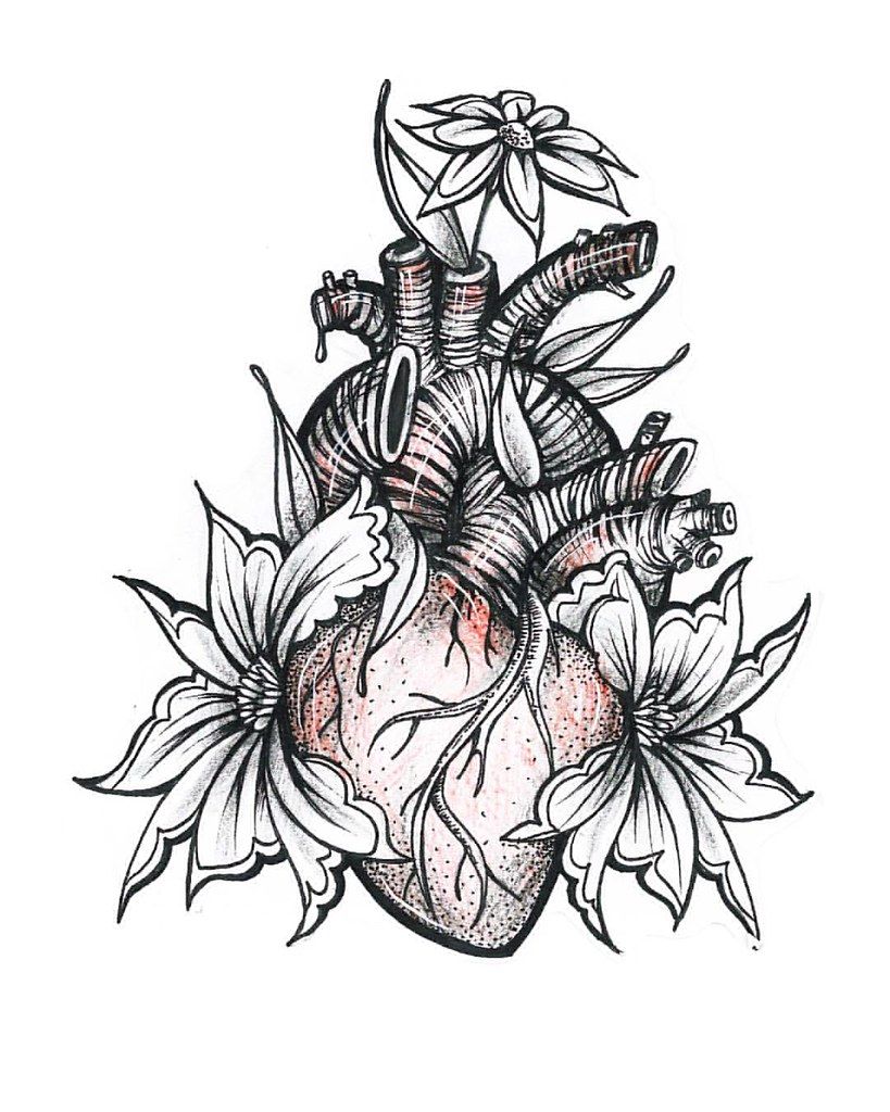 Simple Rose And Heart Tattoo Designs