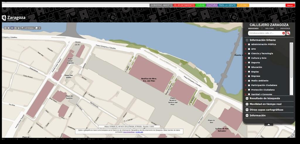Mapa base del Visor IDE Zaragoza