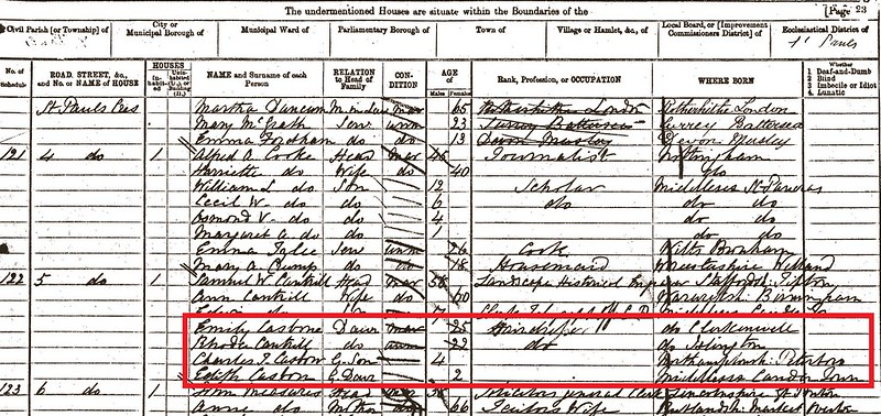 Emily Charles Edith Casbon 1871 census London