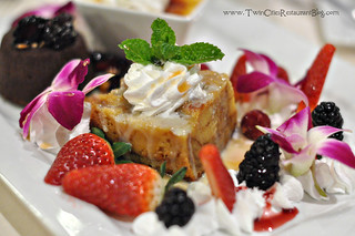 Bread Pudding on Dessert Sampler at Woolley's Steakhouse ~ Bloomington, MN | by sweetsauer