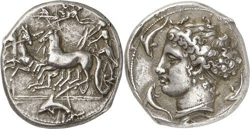 A Rare and Exceptional Greek Silver Tetradrachm of Syracuse (Sicily), Struck Under Dionysios I, Attributed to the Famed Engraver of the Syracusan Dekadrachms, Kimon | by Ancient Art & Numismatics