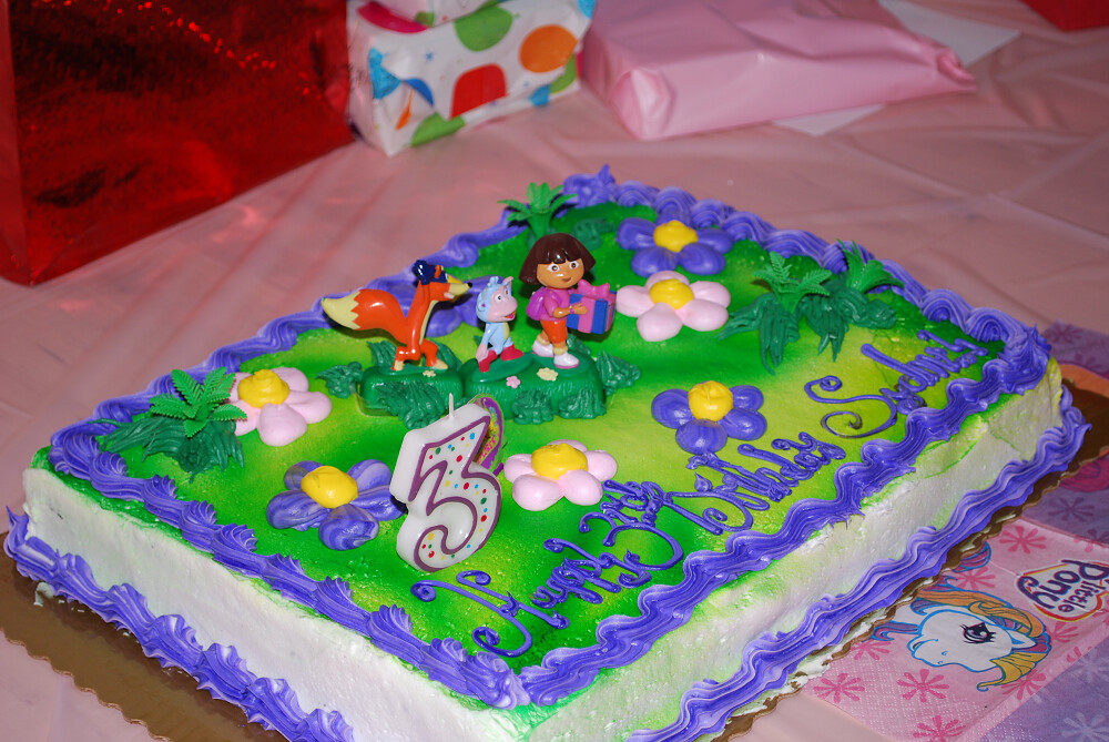 Dora Birthday Cake Three 3 Year Old Happy Party