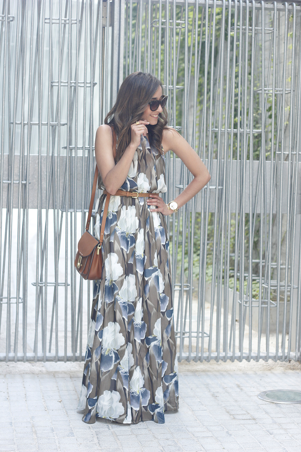 Maxi Dress With Floral Pattern heels summer outfit style04
