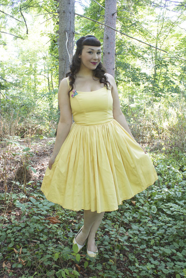 pastel yellow vintage dress