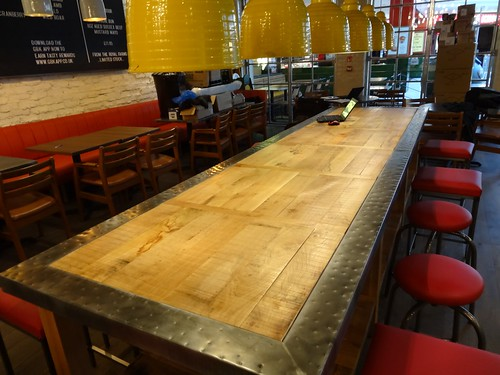 2 zinc edged oak table 6m long with patina feature nai for Long manicure table