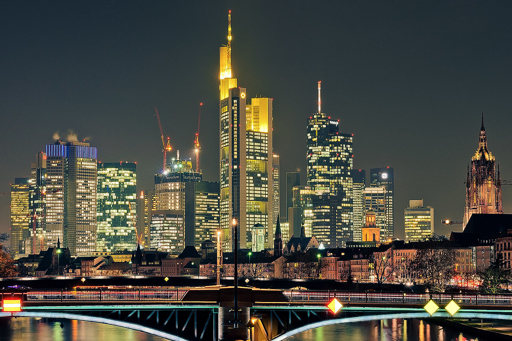downtown frankfurt night here is a closeup shot of downt flickr. Black Bedroom Furniture Sets. Home Design Ideas