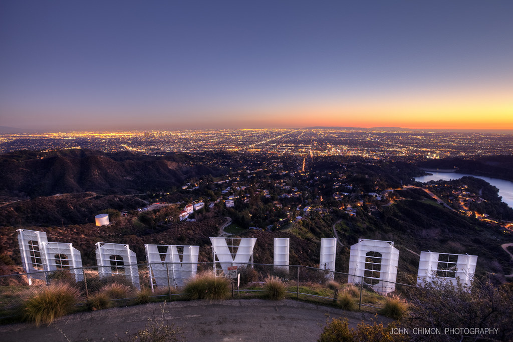 Hollywood Sunset | Sunset behind the Hollywood Sign HDR 4 ...  Hollywood Sunse...