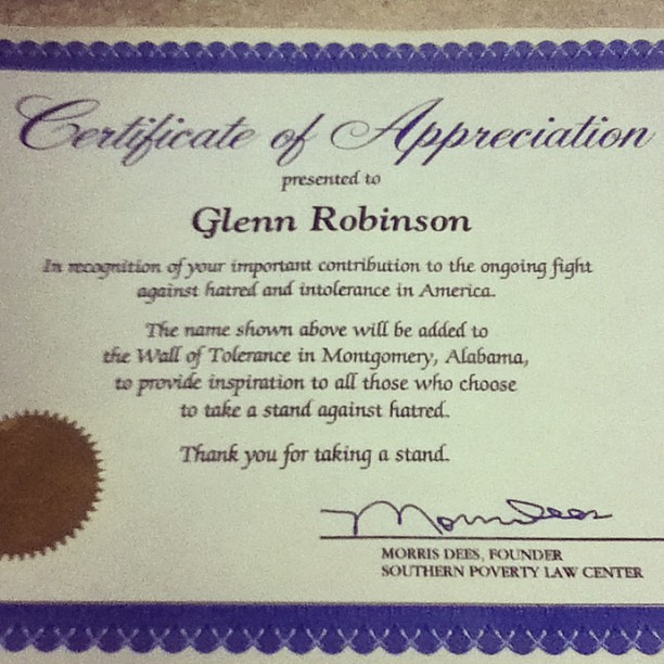 Thank you #MorrisDees @splcenter for my Certificate of Appreciation in ...
