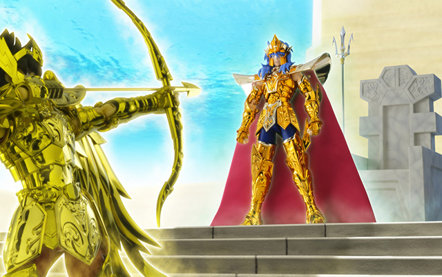 Seiya de Sagitario vs Poseidón Saint Cloth Crown ver.