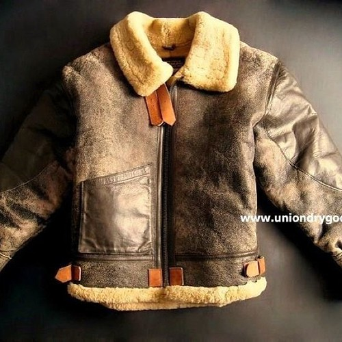 Vintage 2 Tone B3 Leather Shearling Bomber Jacket By Air J