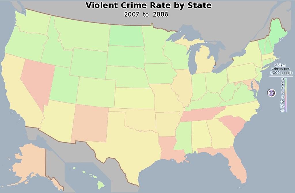 US Violent Crime Rate Map The number of violent crime rate Flickr