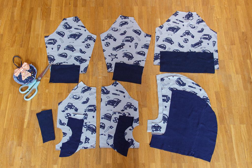 Wykrojone elementy bluzy