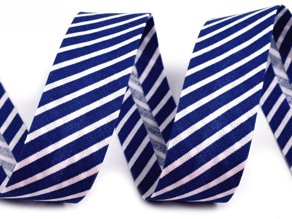 Schrägband Streifen 14mm, blau-weiß