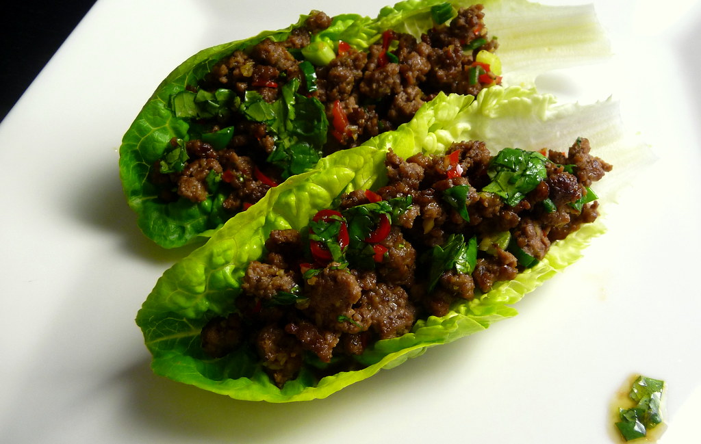 Chilli beef lettuce wraps & coriander dressing | Olive oil ...