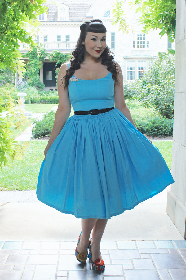 Pinup Girl Clothing Pinup Couture Jenny Dress in Sky Blue