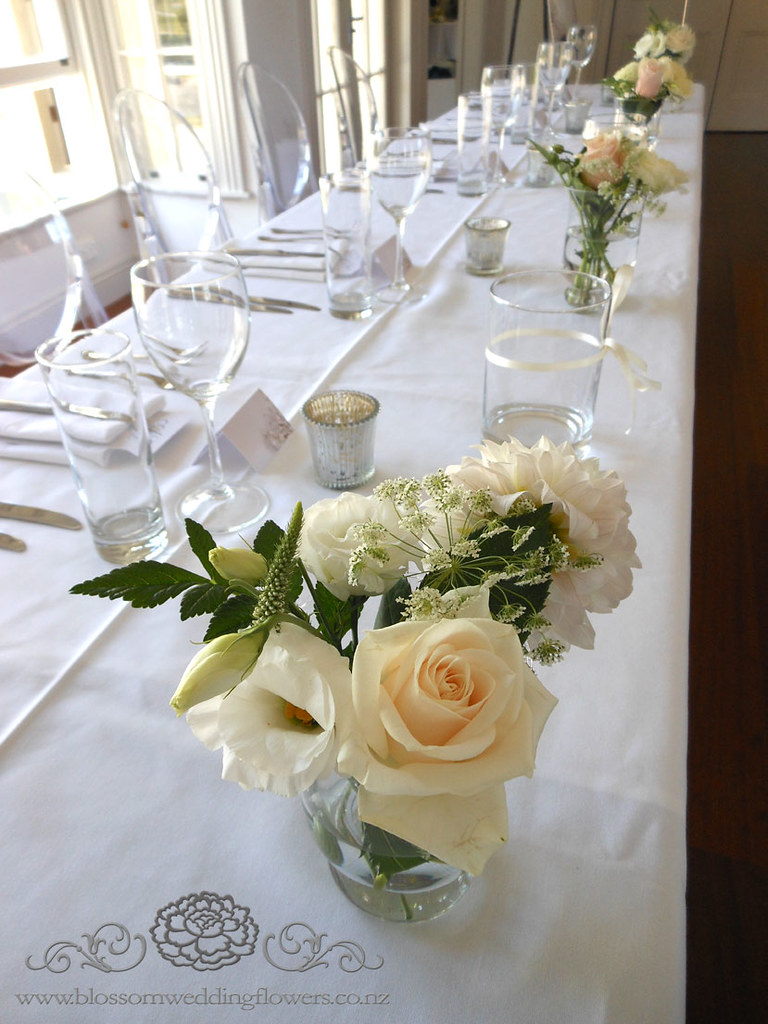 Vintage Wedding Reception Head Table Flower Arrangements