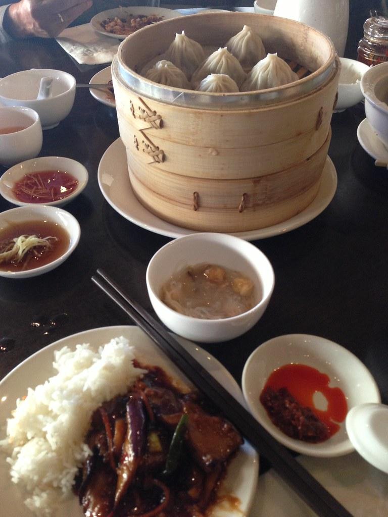 Amazing Chinese food!   XLBs, eggplant, soup. Many ...