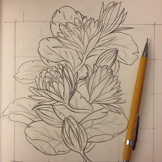 Process shot of my floral pattern for the night. #art #drawing #sketch | by LindsayJuneNohl