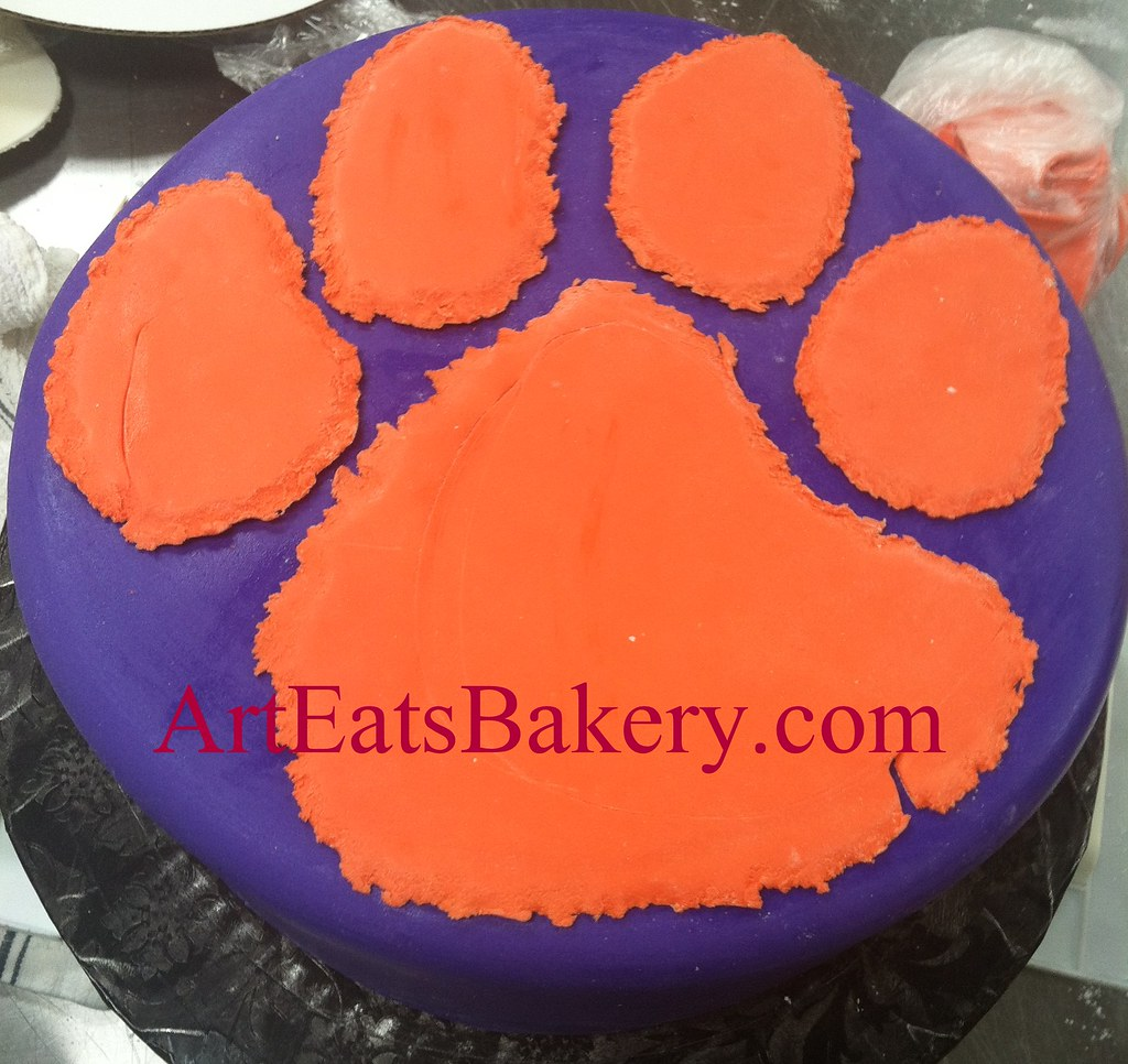 Purple And Orange Fondant Clemson Tiger Paw Custom Unique Flickr