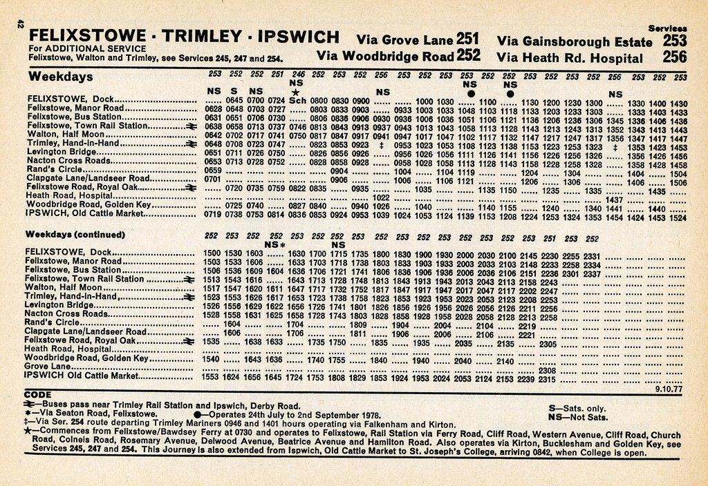 Eastern Counties Bus Timetable Felixstowe To Ipswich Mon To Sat October 1977