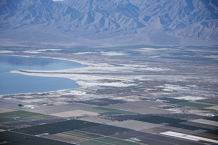 Aerial View Of The Whitewater River Delta Salton Sea Cal