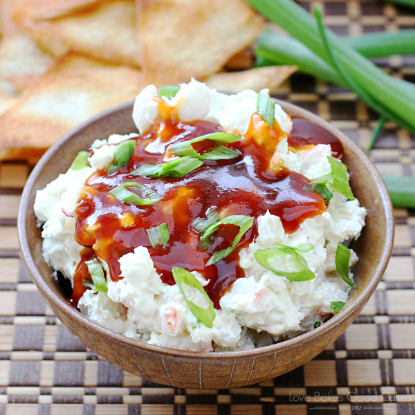 Crab Rangoon Dip in a bowl with Wonton Chips.