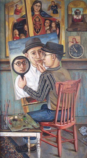 Triple Self Portrait Oil On Wood Panel This Painting