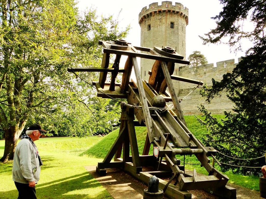 Warwick Castle-Dave with medieval weapon-ballista | Cyndi ...