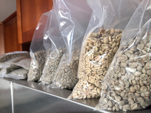 Stock of green coffee beans