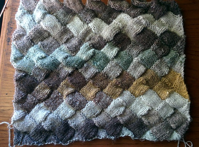 more considerable progress on my entrelac stole: 7 tiers completed