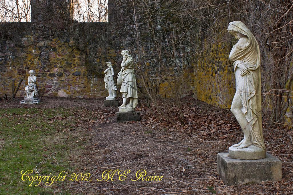 Statues In Sculpture Garden In Hay Barn Ruin At Duke Farms